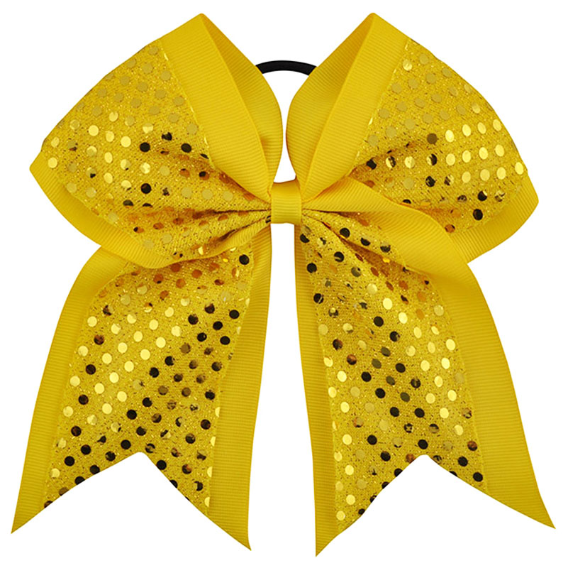"8 ""Big Sequin Girls med elastiskt hårband Grosgrain Ribbon Hair Bow Children Cheerleading Bow för hästsvanshållare"