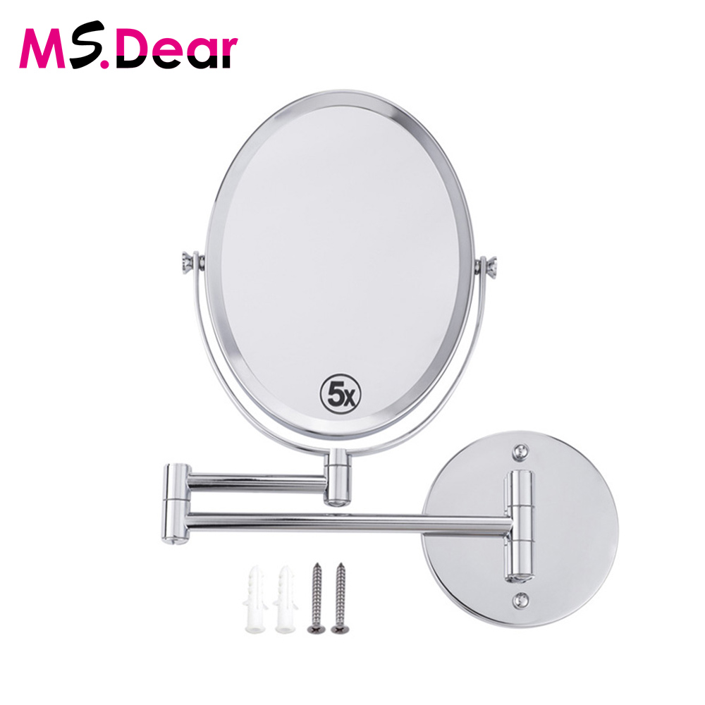 8 Inches Oval Wall Mounted Make Up Mirror Shaving Bathroom Mirror 5x Magnification Dual 2 Sided Cosmetic Makeup Mirror</fo