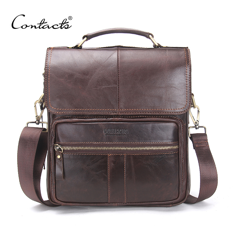 ФОТО CONTACT'S Brand 2017 NEW Genuine Leather Shoulder Bag Men Messenger Bags Zipper Design Men Commercial Briefcase CrossBody Bag