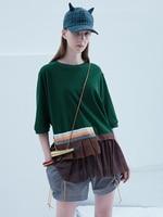 IRINAY175 2019 ss collection original design tulle patchwork oversized t shirt women top