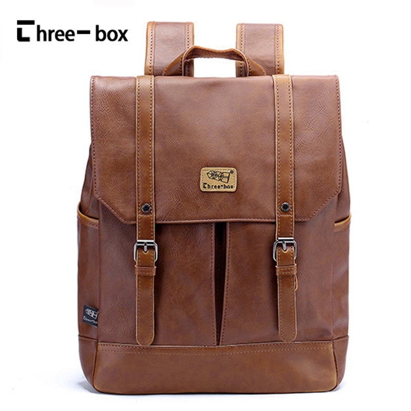 где купить Three-box Men Bag Brand Leather Backpack Vintage Student College School Bag Shoulder Bag Large Capacity Daypack Male Rucksack по лучшей цене