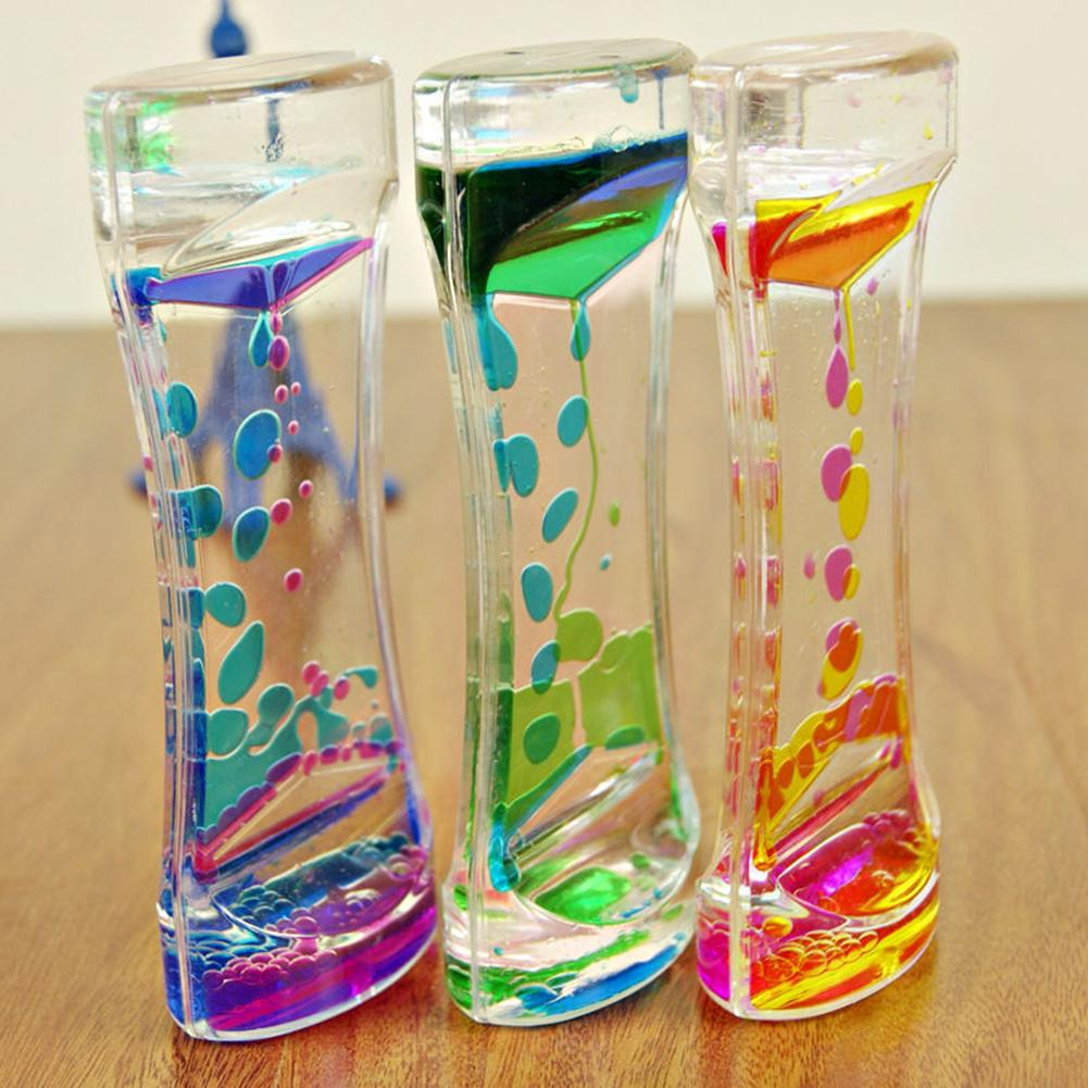 Double Color Floating Liquid Oil Acrylic Hourglass Statues Sculptures Motion Bubbles Visual Hourglass Timer Home Decor Statue
