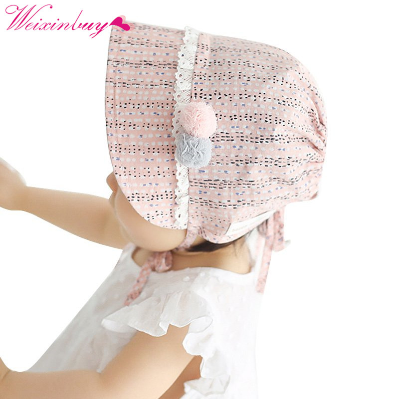 Infant Chapeau Nordic Vintage Baby Girls Cotton Bonnet Retro Beanie Hat Lace Toddler Bonnet Christening Baptism Cap