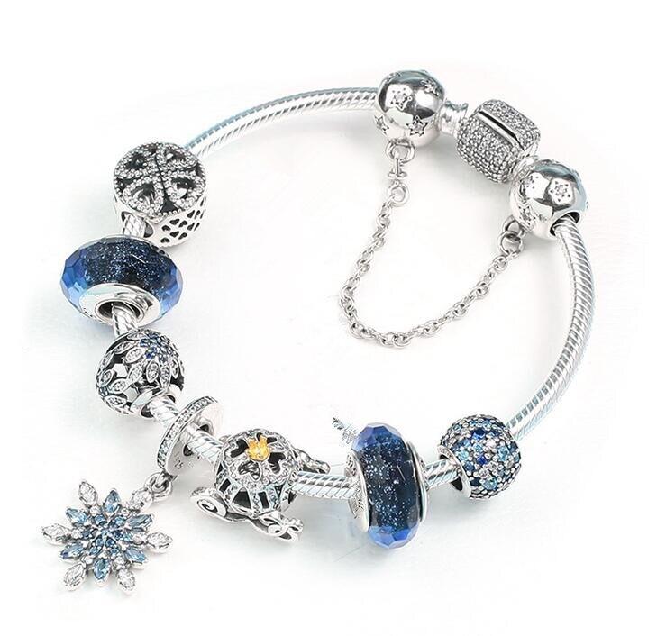 Original 925 Sterling Silver Strand Bracelets Cinderella Pumpkin With Crystal Beads Pan Bracelet Bangle Jewelry