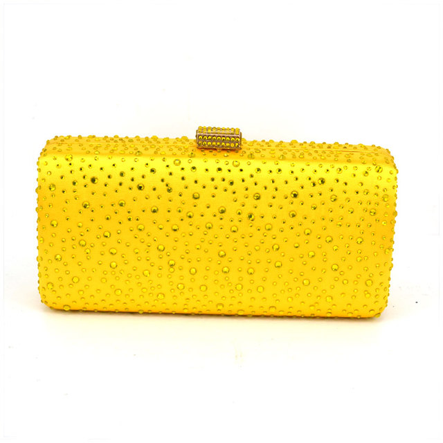 2017 Hot Drilling Hard Box Evening Bag Bridal Clutch Wedding Pochette Soiree Rhinestone Yellow