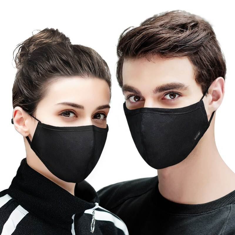 Kpop Cotton Black Mask Mouth Face Mask Anti PM2.5 Dust Mouth Mask With 2pcs Activated Carbon Filter Korean Mask Fabric Face Mask