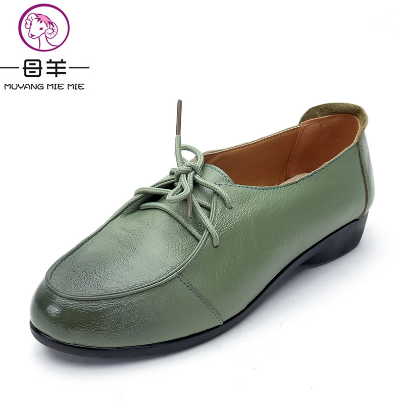 MUYANG MIE MIE Women Shoes Woman Genuine Leather Flat Shoes Fashion Vintage Lace-Up Soft Comfortable Casual Shoes Women Flats muyang mie mie genuine leather women shoes woman casual flower single flat shoes soft comfortable women flats