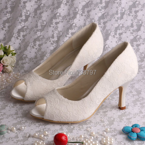 6 Colors Custom Handmade Lace Bridal Shoes Wedding Shoes White Open Toe Shoes