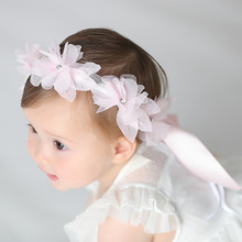 5pcs/lot Thin Floral Petal Hair Bands Chiffion Baby Girls Light Pink Blue Headband Kids Fairy Hairband Ribbon Children Gift Baby stylish bow embellished tiny floral pattern light blue headband for girls