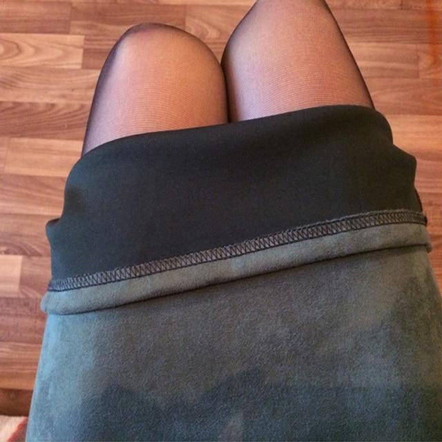 Sainishi Super Deals Women Suede Solid Color Pencil Skirt Female Spring Autumn Basic High Waist Bodycon Split Knee Length Skirts 4