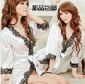 Summer lady transparent bathrobe homewear short sleeved gown sexy underwear size thin sleeping lace suit temptation