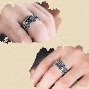 Image 5 - Zabra Echt 925 Sterling Zilveren Spinner Ring Vintage Zes Woorden Mantra Mens Zegelringen Punk Sieraden Voor Mannen