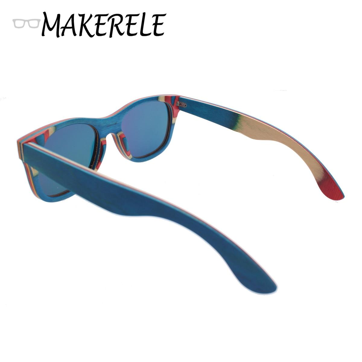 Mejor azul Monopatín De Madera gafas de Sol de las mujeres monturas Espejo Polaroid gafas de sol de moda De Madera de makerele tienda en Gafas de sol ...