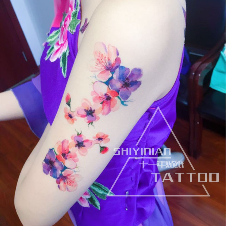 Sexy Cerezo Melocoton Hombro Chica Tatuaje Temporal Adhesivos