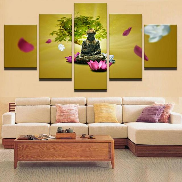 5 Pcs/Set Framed HD Printed Water Lily Buddha Modern Wall Pictures ...