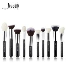 Кисти для макияжа черные/серебряные Jessup, 10 шт., набор кистей для макияжа лица, Кисть для макияжа контурная пудра и румяна