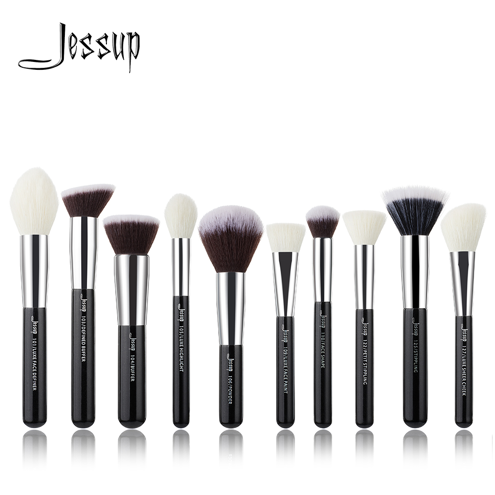 Jessup brushes 10pcs Black/Silver Face Makeup brushes set beauty Cosmetic Make up brush Contour Powder blush gujhui 10pcs makeup brushes set cosmetic face foundation powder eyeshadow blush blending contour make up brush with puff and bag