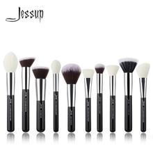 Jessup pinceaux 10 pièces noir/argent visage pinceaux de maquillage ensemble beauté cosmétique maquillage brosse Contour poudre blush