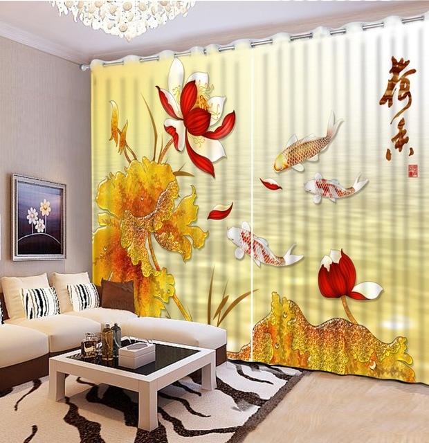 Moderne Fenster Vorhänge 3D lotus fisch Blackout Vorhang Für Das ...
