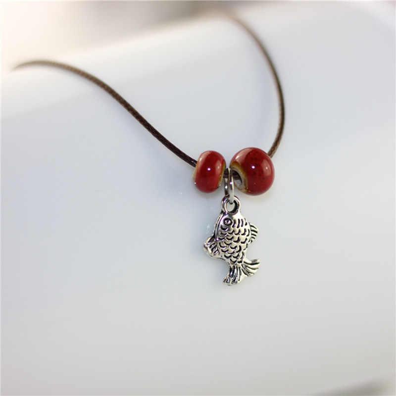 Коричневый канат богемные браслеты на ногу цепи керамические бусины цепи на босую ногу женщин/мужчин серебряный цвет Рыба браслет с подвеской ювелирные изделия