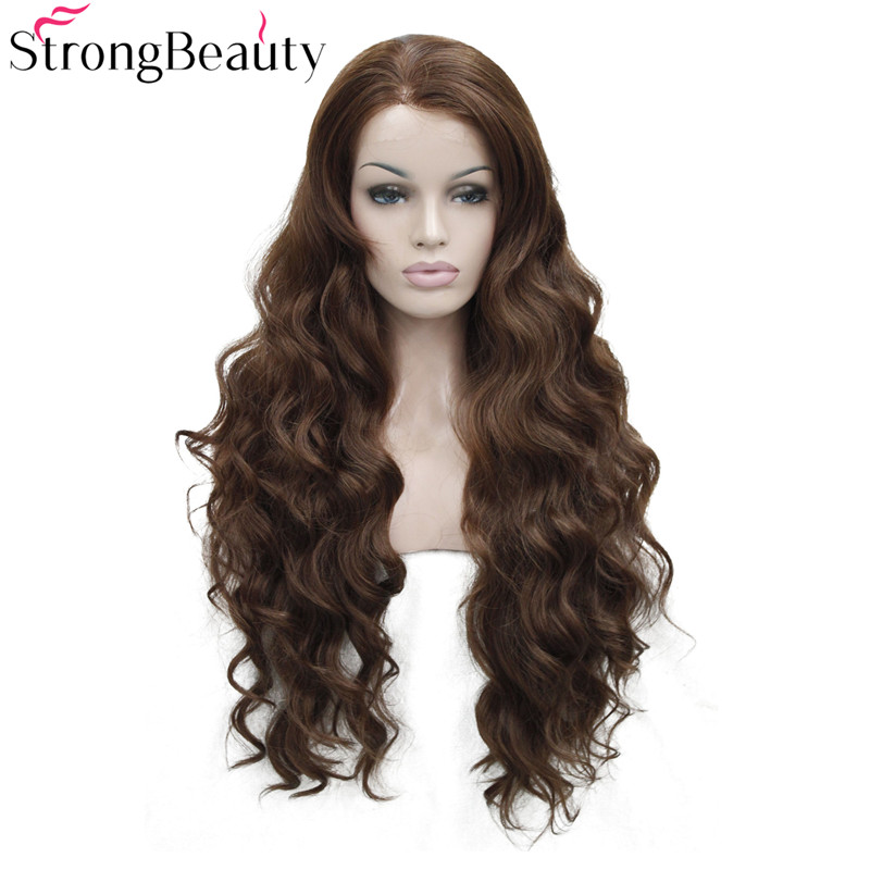StrongBeauty Long Synthetic Wavy Wigs Front Lace Wig Heat Resistant 30 Inches Hair 5 Colors