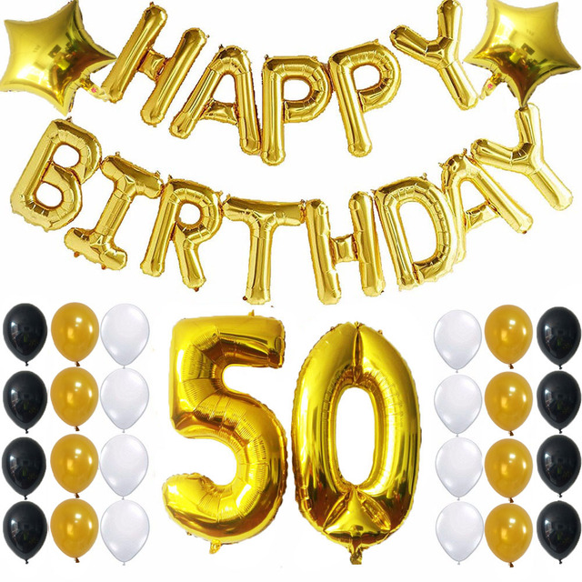 41 Pcs Joyeux Anniversaire Feuille Ballons 50 Nombre Ballon Or Balck