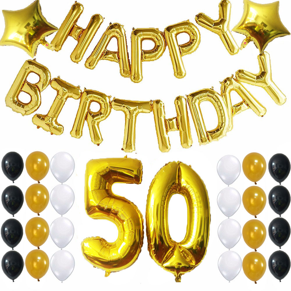 41pcs Happy Birthday Foil Balloons 50 Number Balloon Gold