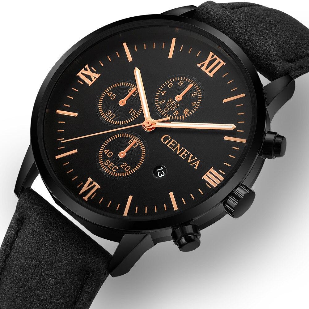 Fashion Geneva Men Date Alloy Case Synthetic Leather Analog Quartz Sport Watch Men's Watch Wrist Party Decoration Business Watch