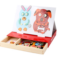 3D Puzzles Magnetic Face Drawing Board Educational Toys For Children Montessori Materials Animals Fridge Magnets Drawing Toy