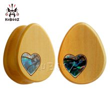 KUBOOZ 2PCS Wood Gauges Ear Tunnels Plugs Piercing Body Jewelry Teardrop Stretcher Earring Expander 8mm to 25mm Fashion Gift(China)