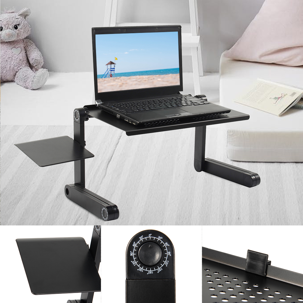 Adjustable Foldable Laptop Desk Ergonomic Portable Stand Up Portable Lapdesk Notebook Support Holder TV for Bed Heat Dissipation