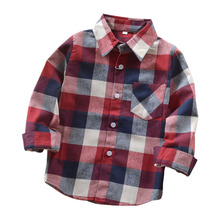 Fashion Autumn Boys Shirts For Girl Plaid Long Sleeve Turn-down Collar Teenager Tops Cotton Children Clothing Kids Clothes Shirt