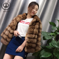 2018 New Arrival Real Sable Fur Coat Stand Collar Luxury Mink Fur Coat Winter Fashion Overcoat With Real Fur Jacket Mink MKW 200