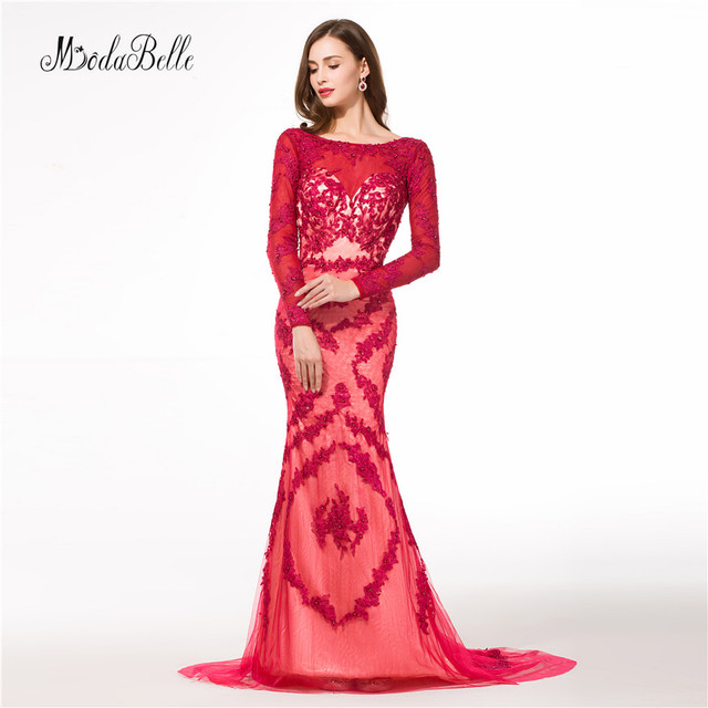modabelle Dubai Lace Long Red Evening Dress Mermaid Appliques ...