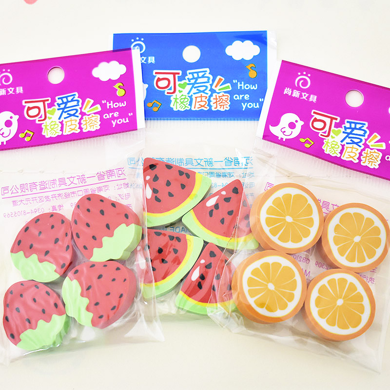 16 Pcs/lot (4 Bags) Cute Creative Fruit School Eraser Kawaii Watermelon Rubbers For Kids School Supplies Student