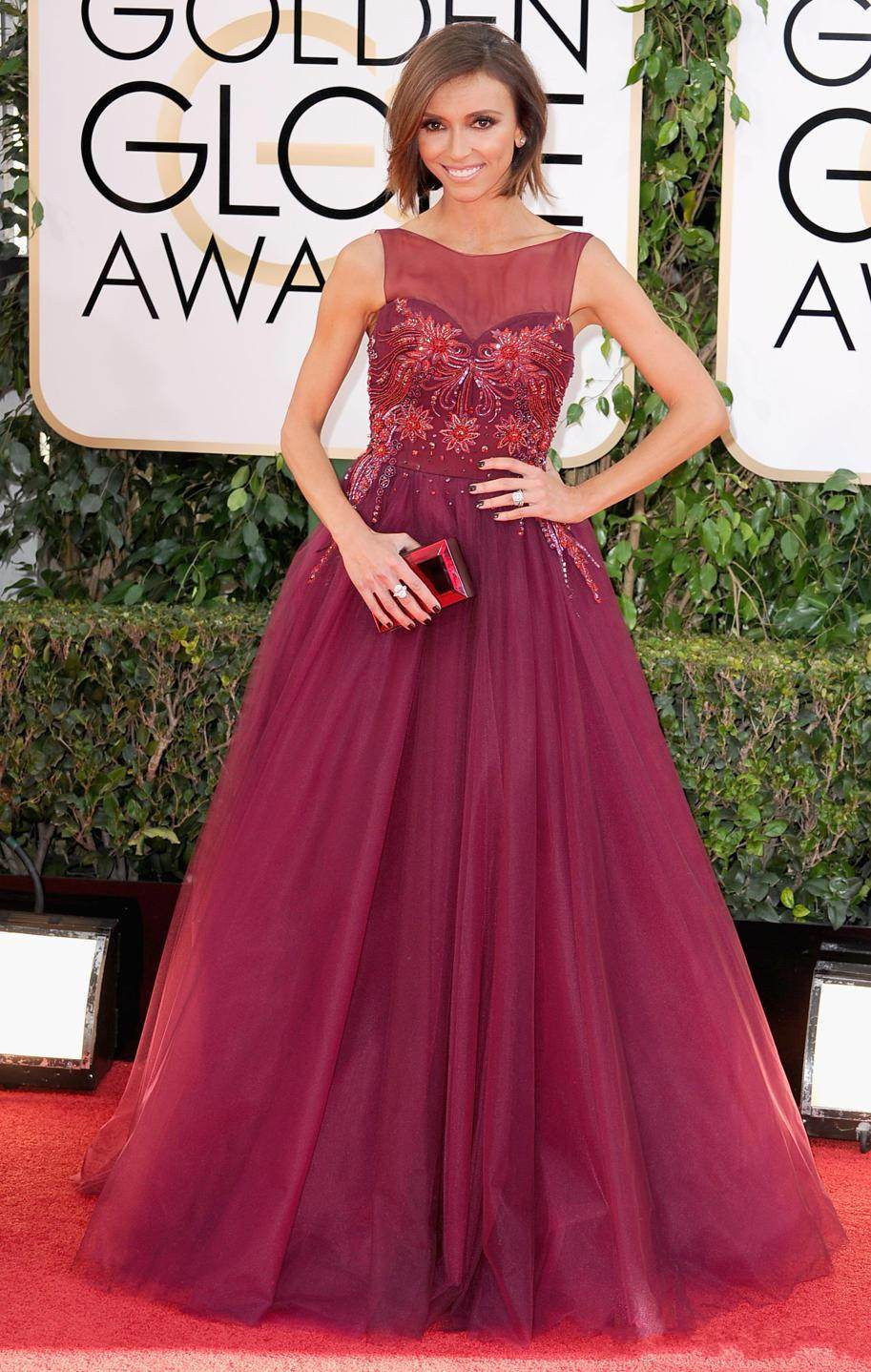 77bae845b3 2017 Exquisite Celebrity Dresses Juliana Clancy Red A Line Wine ...