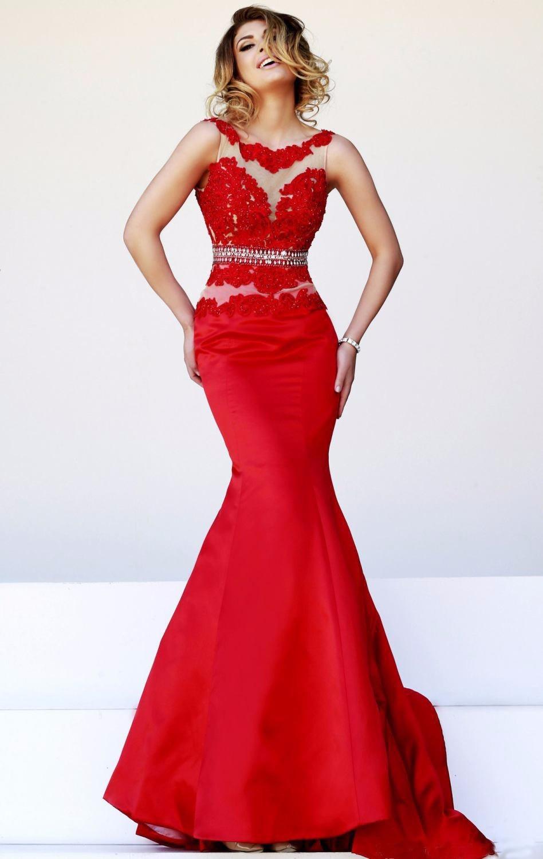 Taffeta and lace evening dress