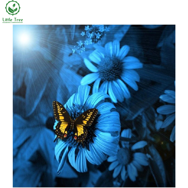 Butterfly blue flower diy diamond painting modern crystal art paste diamond embroidery wall sticker sewing rhinestone