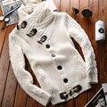 Nova Qualidade Da Marca de Moda Dos Homens Blusas De Malha Jaqueta de Lapela Casaco Masculino Inverno Engrosse Velo Mochila Quente Plus Size 2XL
