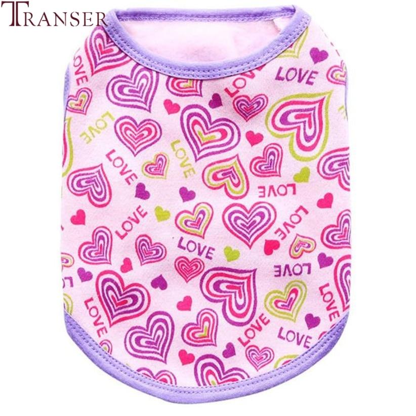Transer Pet Dog Clothes Love Heart Print Flannel Dog Vest T Shirt Winter Pet Supply 80118