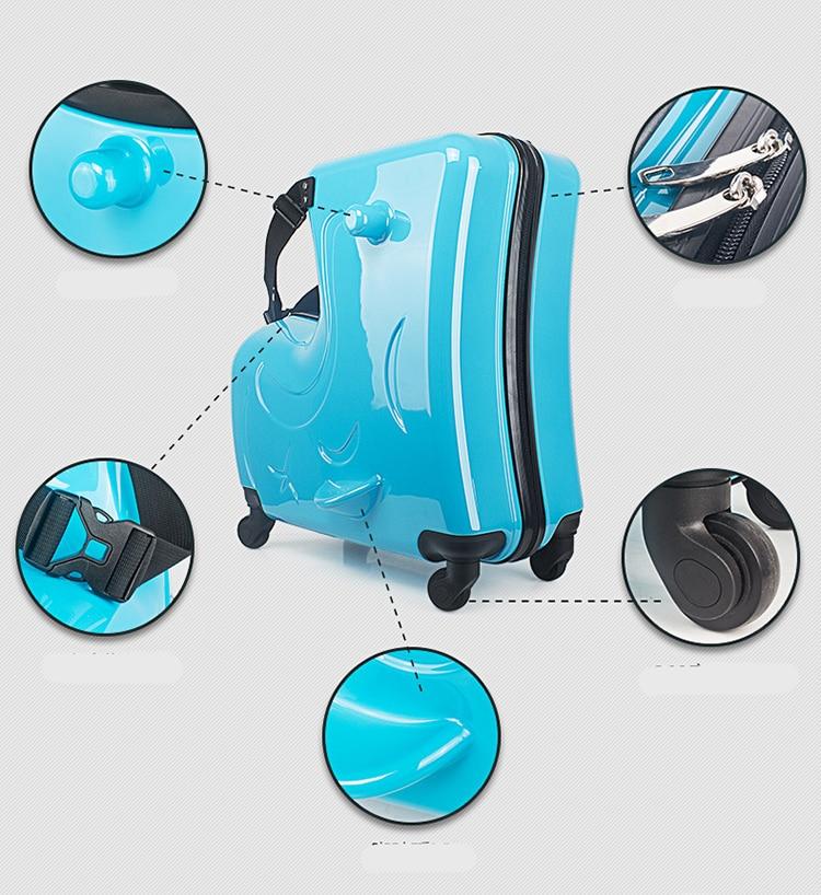new Kids Riding Trojanl Luggage Hot Boys Girls Travel Trolley Alloy Children Sitting Rolling Luggage Suitcase Spinner Wheels