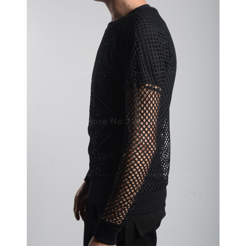 aa005eff Fashion Full Sexy Men's Black&White Fishnet TopsTransparent T shirts Net  Mesh Gay See Thru Lounge Funny Shirt Undershirt-in T-Shirts from Men's  Clothing on ...