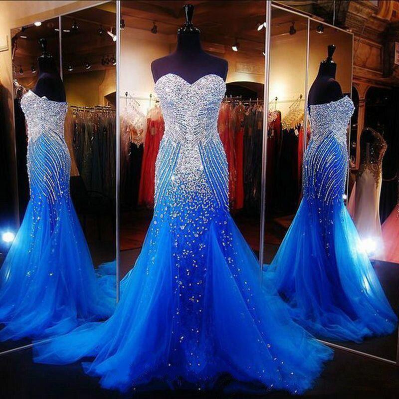 Sparkly Rhinestone Crystals Mermaid Prom Dresses 2018 Off Shoulder Royal Blue Shiny Long Evening Dress Vestido de festa longo
