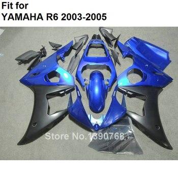 Top selling motorcycle fairing kit for Yamaha YZFR6 2003 2004 2005 metallic blue black fairings set YZF R6 03 04 05 BC66