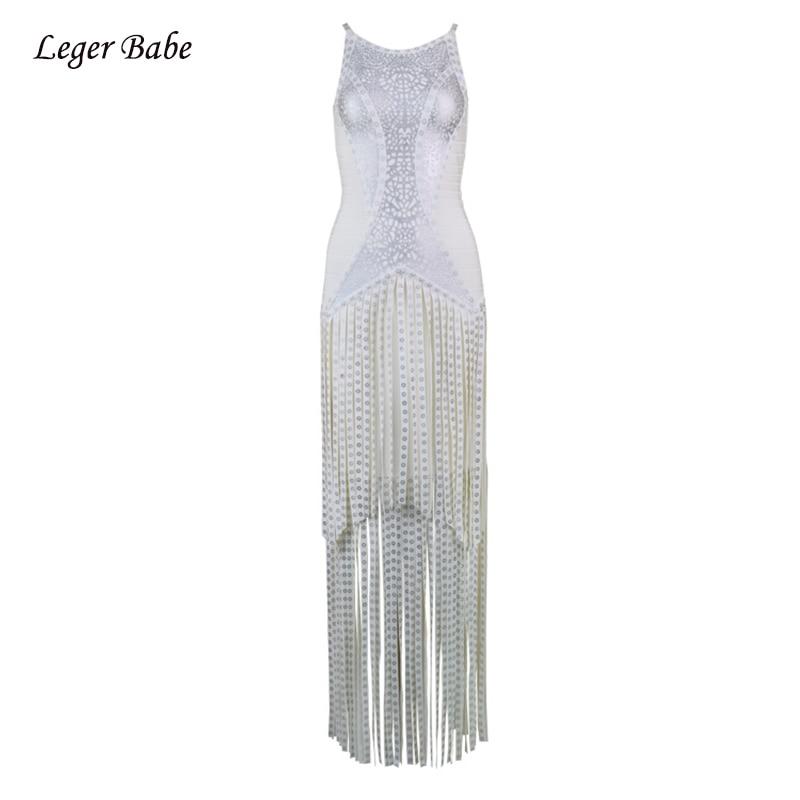 Detail Feedback Questions about Long Women Tassel Badnage Dress Luxury  Sleeveless Long Fringe O Neck New Celebrity Evening Party Silver Slim  Dresses ... 2f3d99844d2b