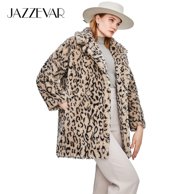 JAZZEVAR 2018 Winter New Fashion Womens Teddy Bear Icon Coat Classic Real Sheep Fur Oversized Jacket Thick Warm Outerwear