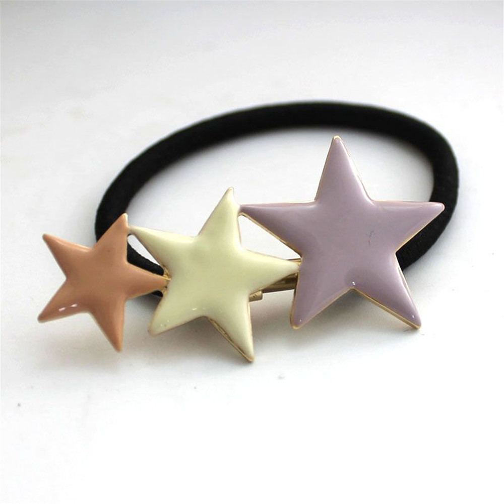 Japan and South Korea popular hair ornaments three stars drip enamel horse tail hair rope factory outlets