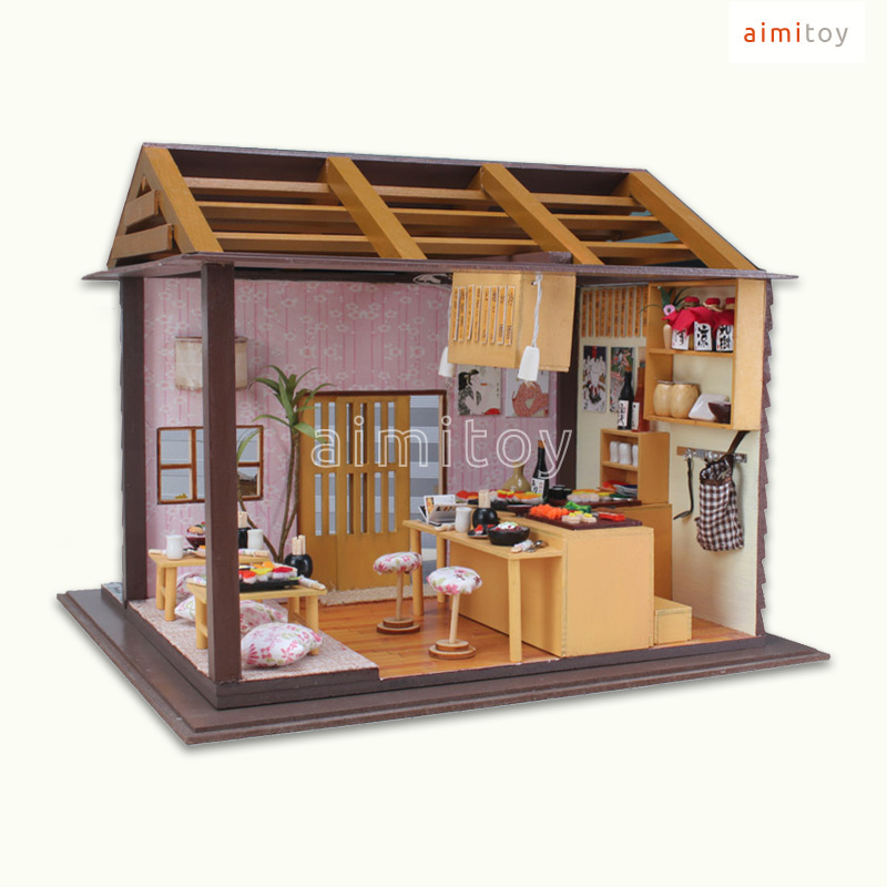a59 small wood doll house japanese sushi shop diy kits for children in model building kits from toys hobbies on aliexpresscom alibaba group - How To Build Small Wooden House