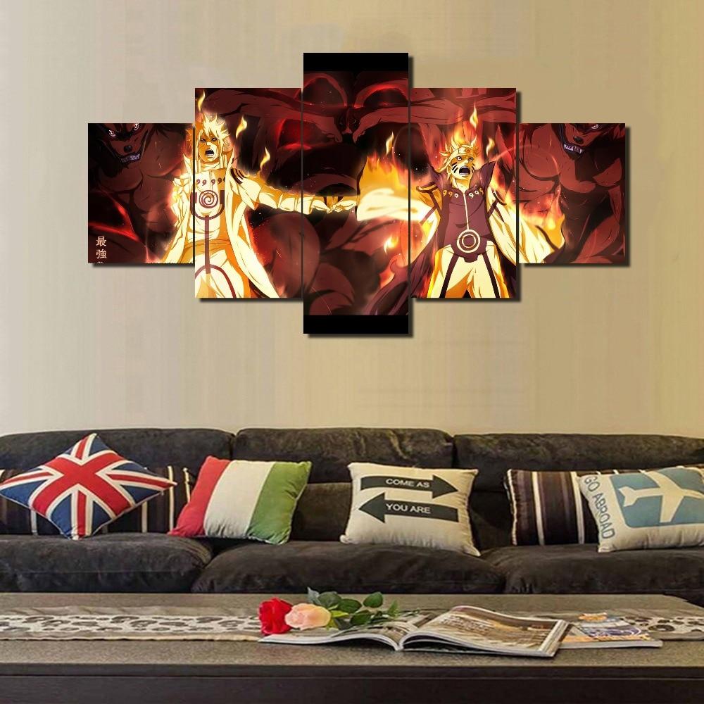 US $6 24 OFF Framed Hot Menjual 5 Piece Kanvas Seni Stiker Naruto Wallpaper Lukisan Cetak Kanvas Dinding Gambar Seni Dekorasi Rumah Ruang Tamu Art