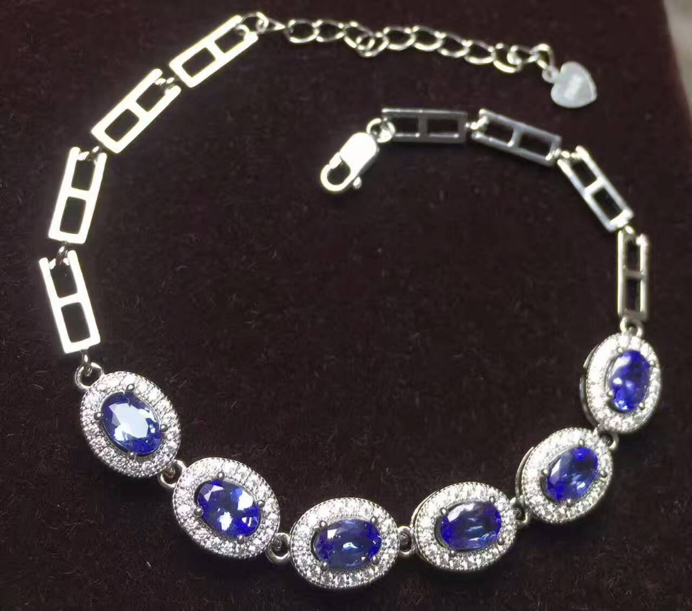 natural blue tanzanite Bracelet Natural gemstone bracelet S925 silver fashion luxurious Elegant round women party fine jewelry цена 2017
